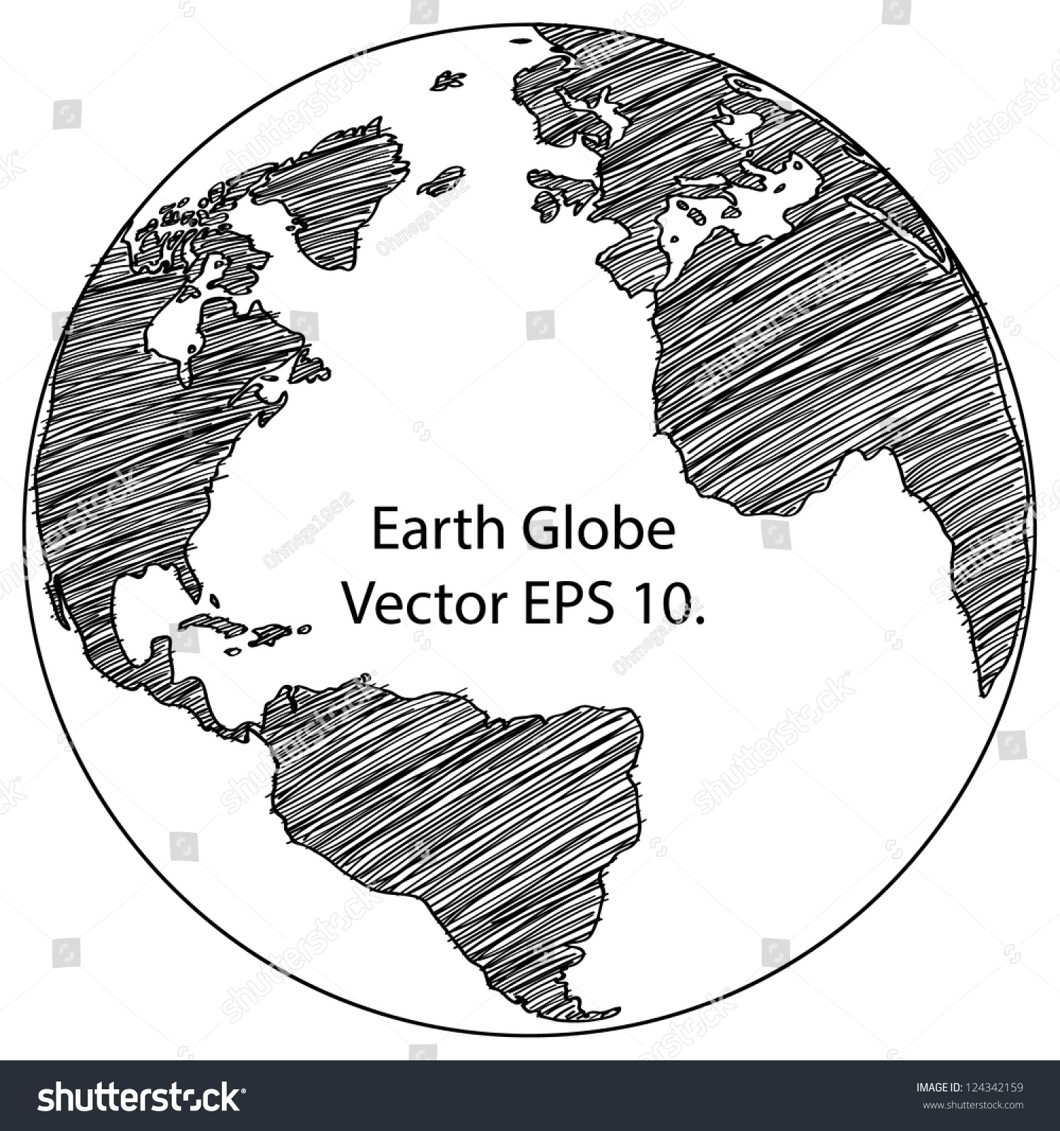 Line Drawing Earth : World map earth globe vector line stock
