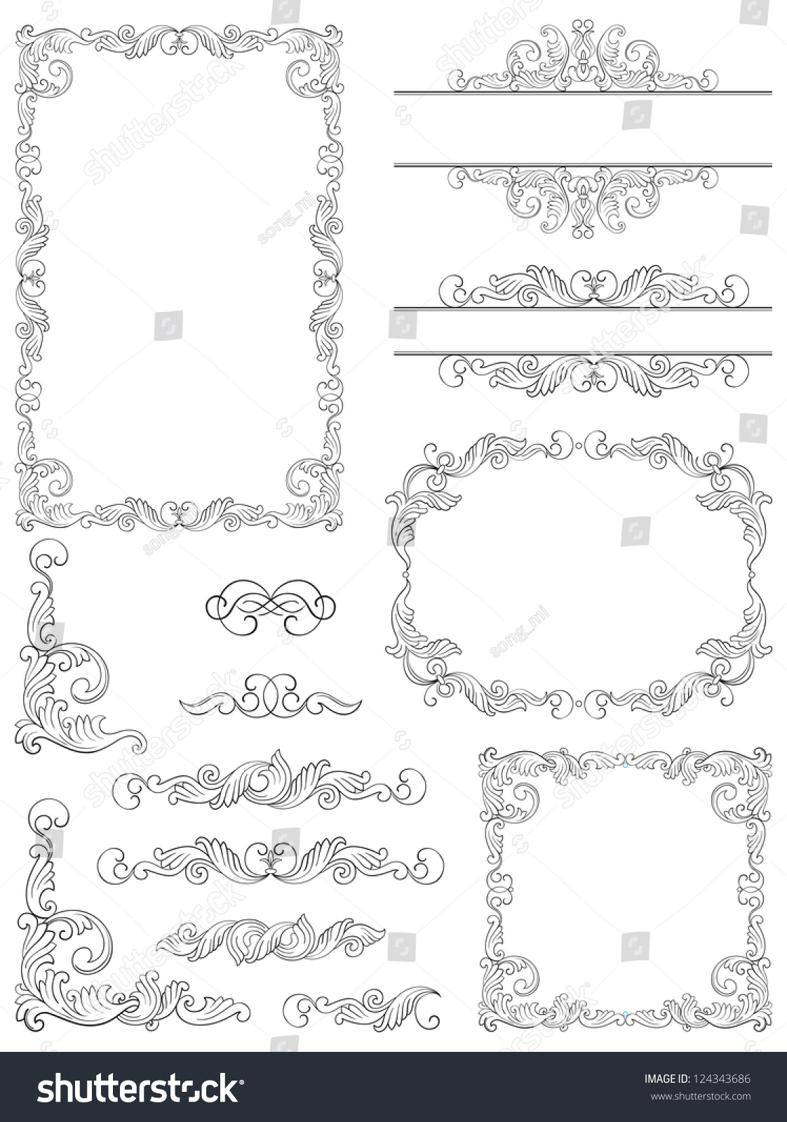 Victorian Design Elements victorian design elements vector set victorian stock vector