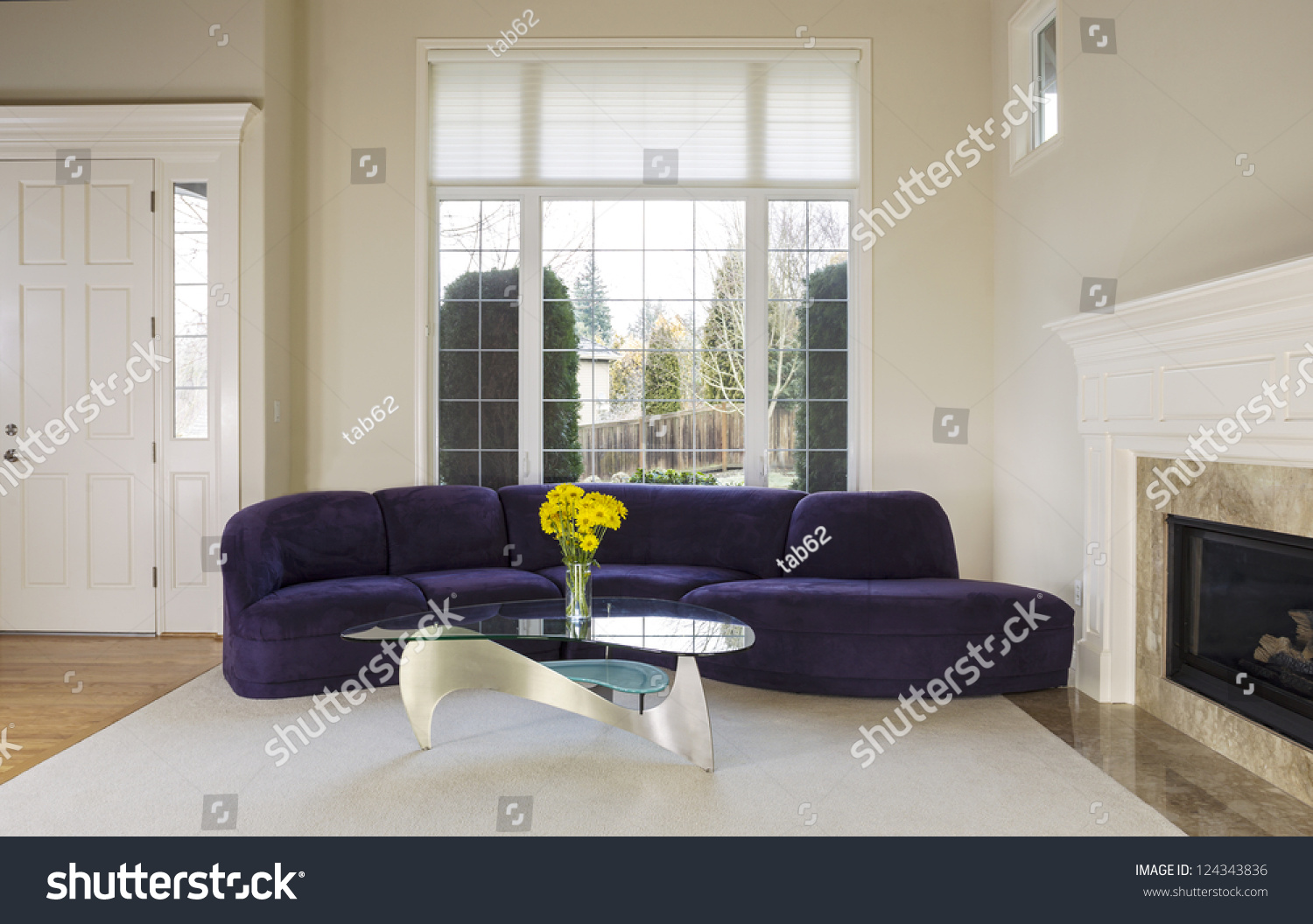 Large Family Living Room Suede Sofa Stock Photo 124343836