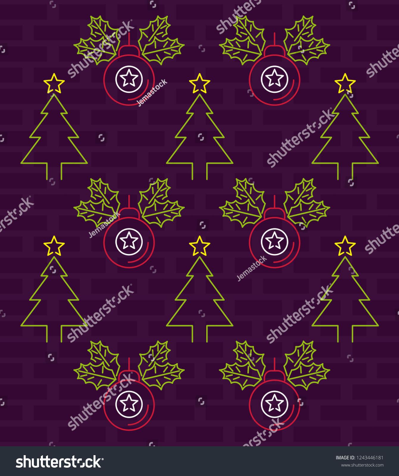 stock vector merry christmas wallpaper neon lights 1243446181