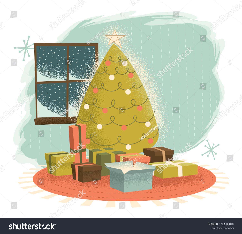 Vintage Christmas Tree Presents Illustrated Retromodern Stock Vector Royalty Free 1243606810