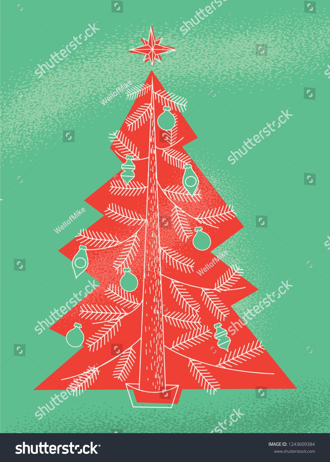 Retro Modern Illustration Christmas Tree Style Stock Vector Royalty Free 1243609384