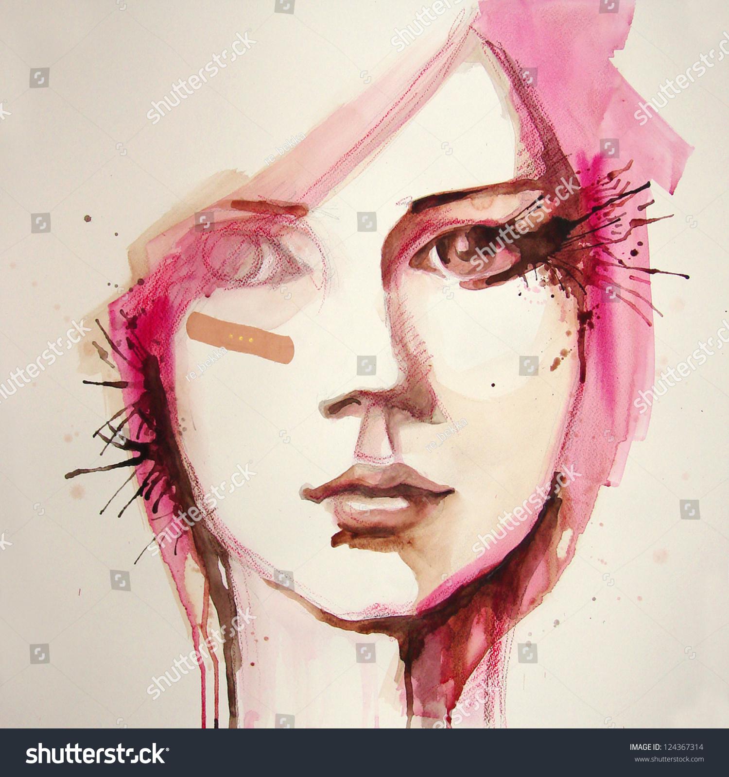 Watercolor Portrait Beautiful Girl Handmade Self Stock ...