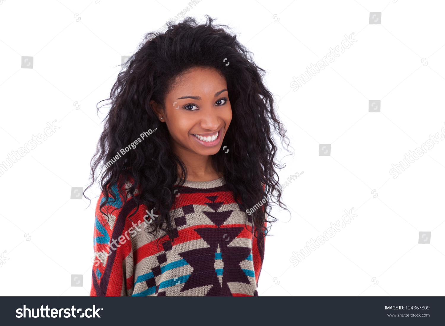 Marvelous Young African American Teenage Girl Isolated Stock Photo 124367809 Hairstyles For Men Maxibearus