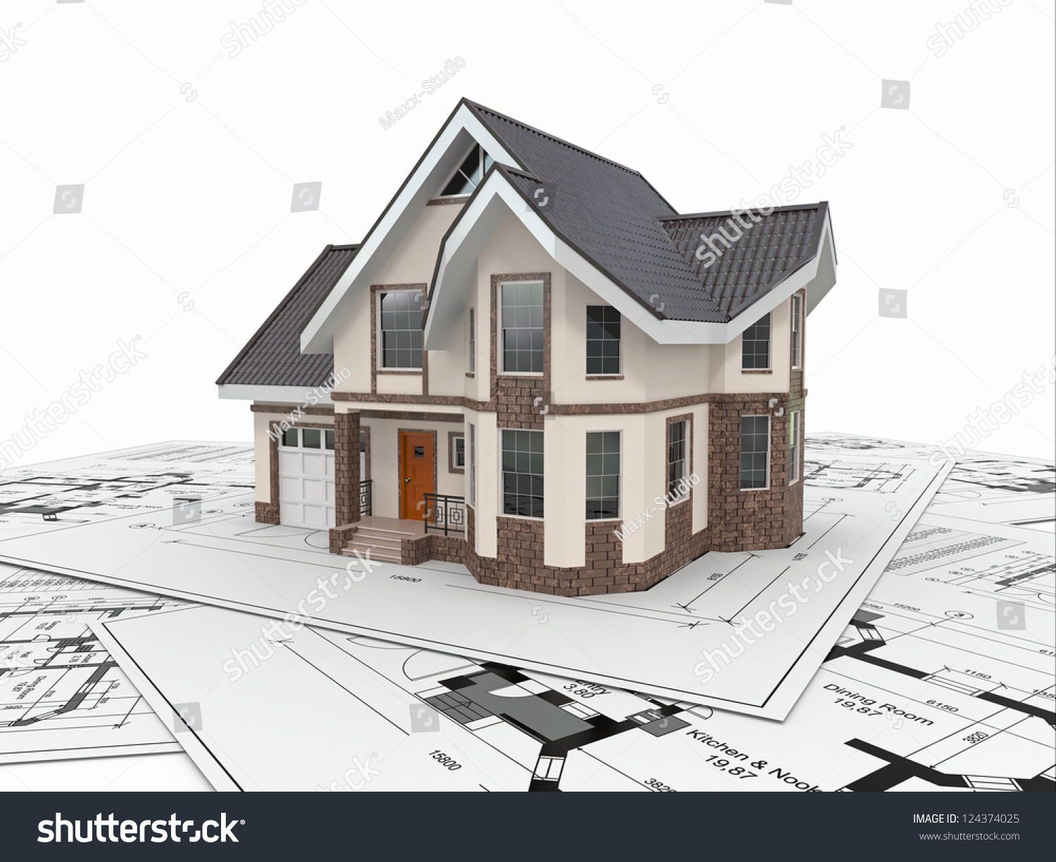 Architecture Blueprints 3d residential house tools on architect blueprints stock illustration