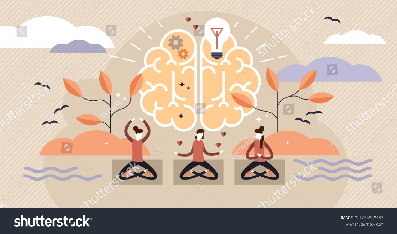 mindfulness flat vector illustration mentally healthy stock vector