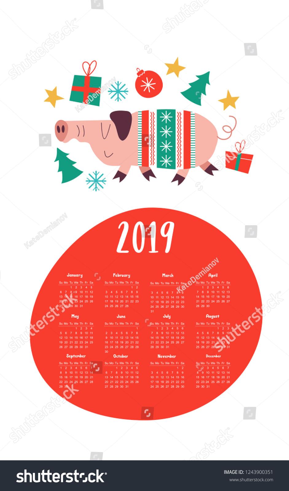 Vector Calendar Template 2019 Cute Pig Stock Vector Royalty Free