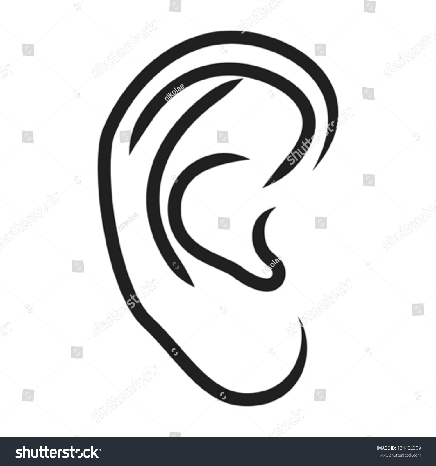 Human Ear Vector Illustration Stock Vector 124402309 ...