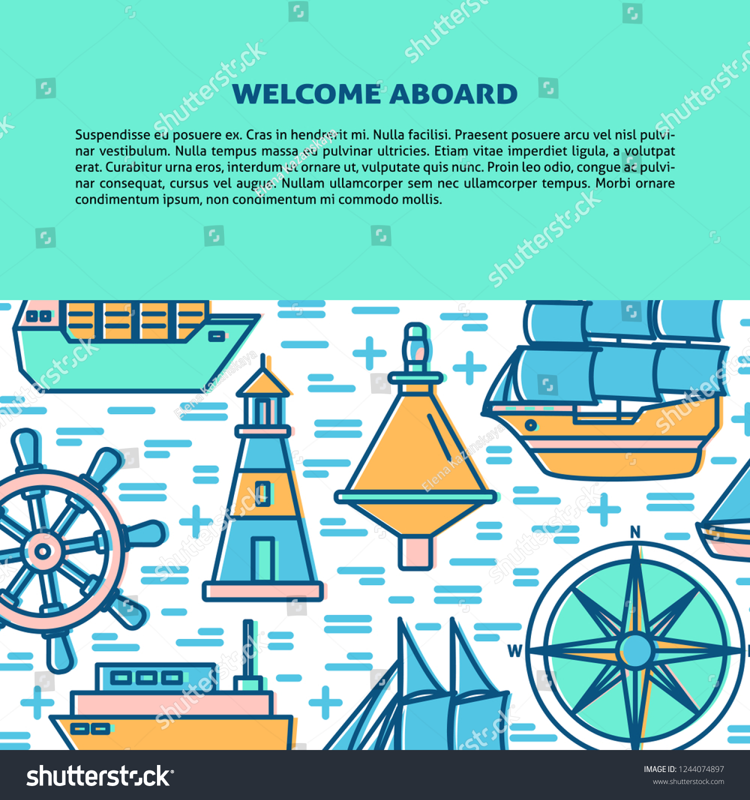 Marine Banner Poster Template Ships Nautical Stock Vector Royalty