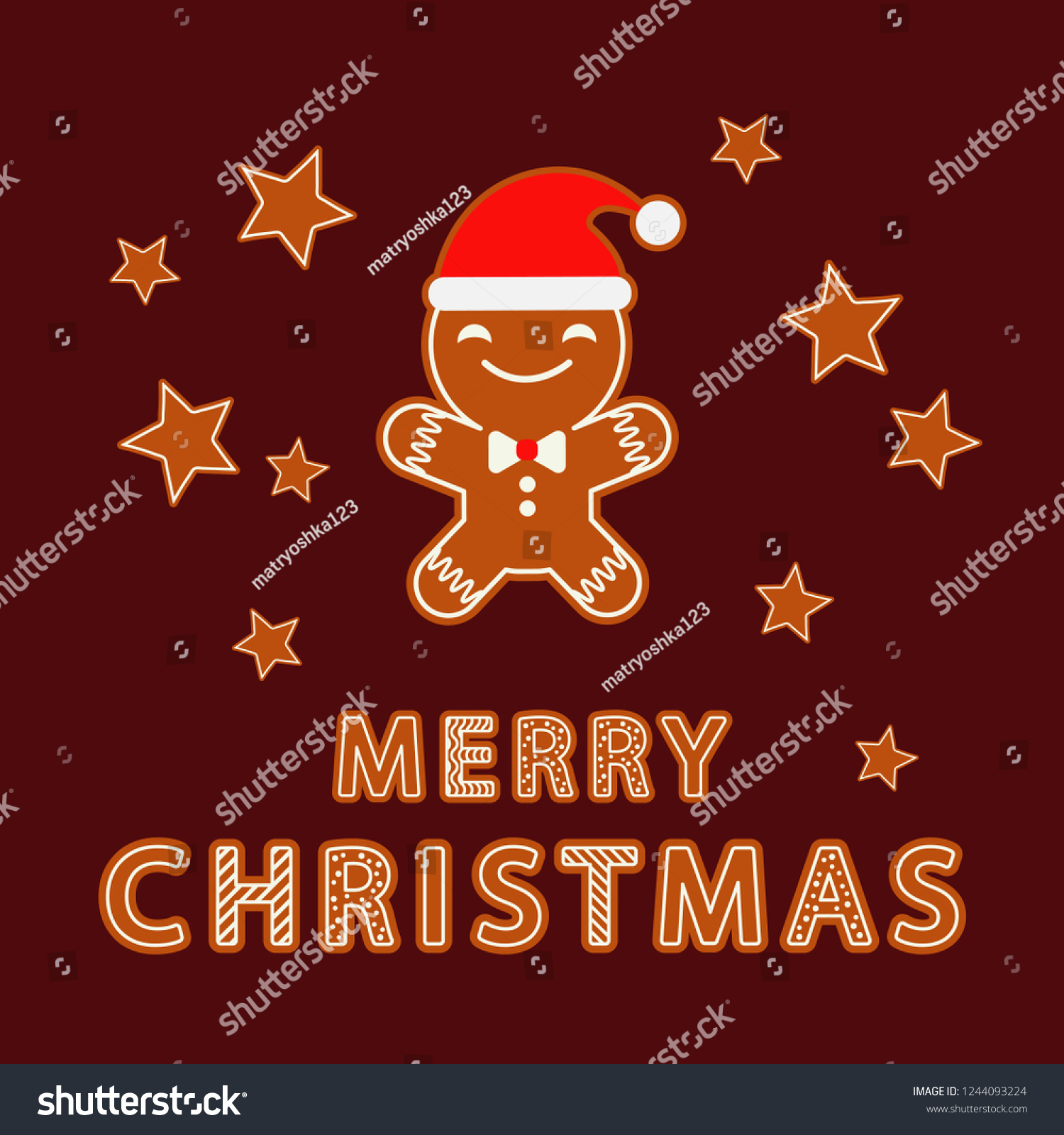 stock vector gingerbread on a brown background christmas gingerman cute cartoon can be used for wallpaper 1244093224
