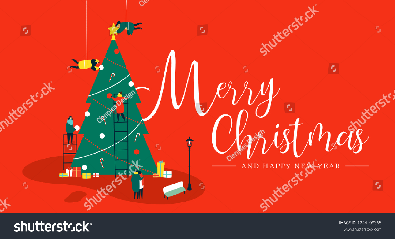 merry christmas and happy new year greeting card people group making big xmas pine tree