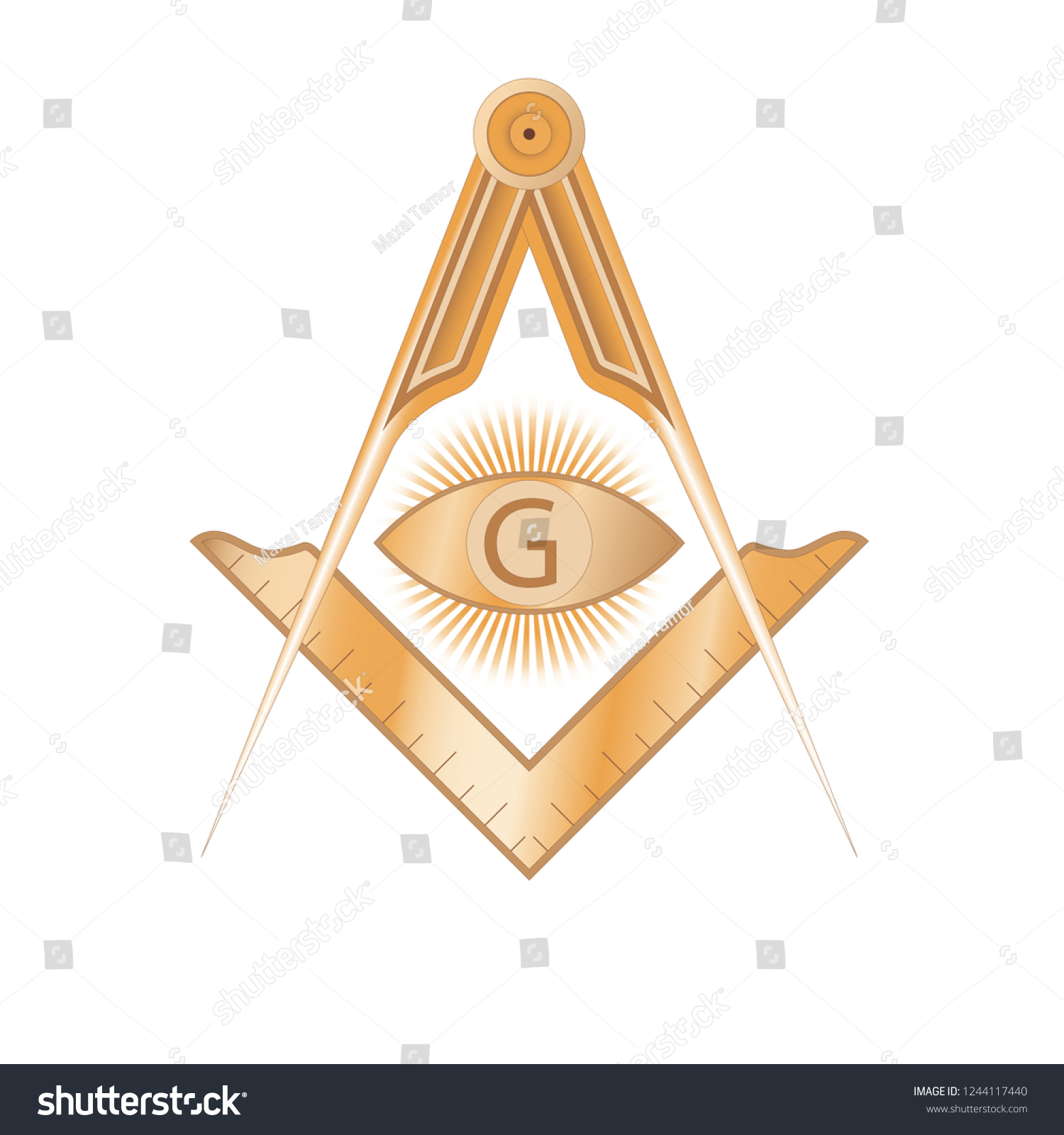 Copper Masonic Square Compass Symbol G Stock Vector (Royalty