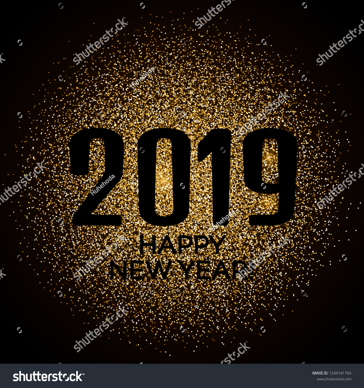 2019 Happy New Year Background. Luxury concept with golden color. suitable for Seasonal Flyers and Greetings Card #1244141764