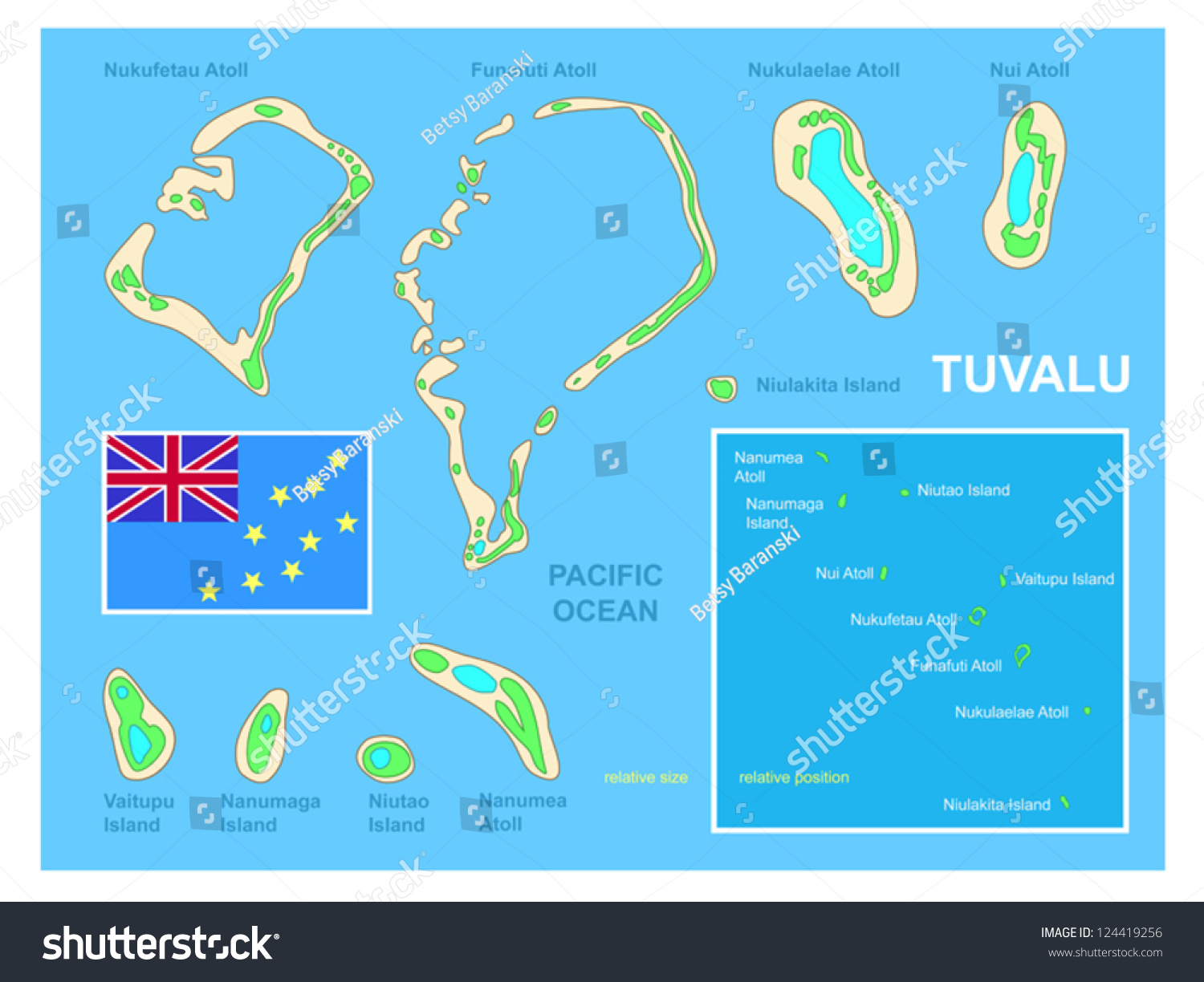 Tuvalu Map Flag Bright Colorful Map Stock Vector - Tuvalu map