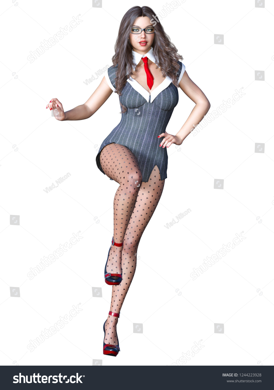 366aa9148406 Stock photo long haired sexy brunette secretary in black pantyhose  beautiful girl with glasses standing jpg