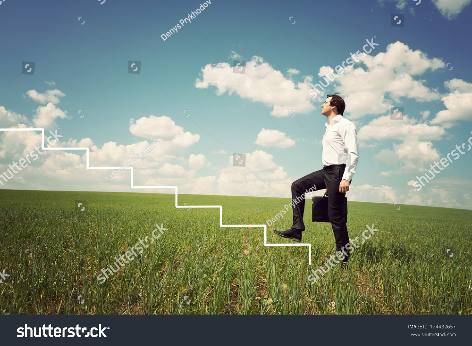 businessman in white shirt walks up the ladder in the green field save to a lightbox