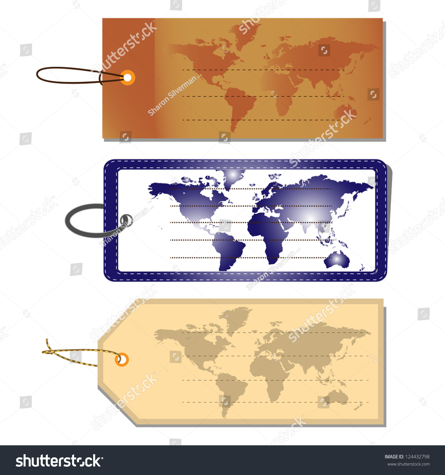 Set luggage tags world map vector stock vector 2018 124432798 set of luggage tags world map vector illustration gumiabroncs Choice Image