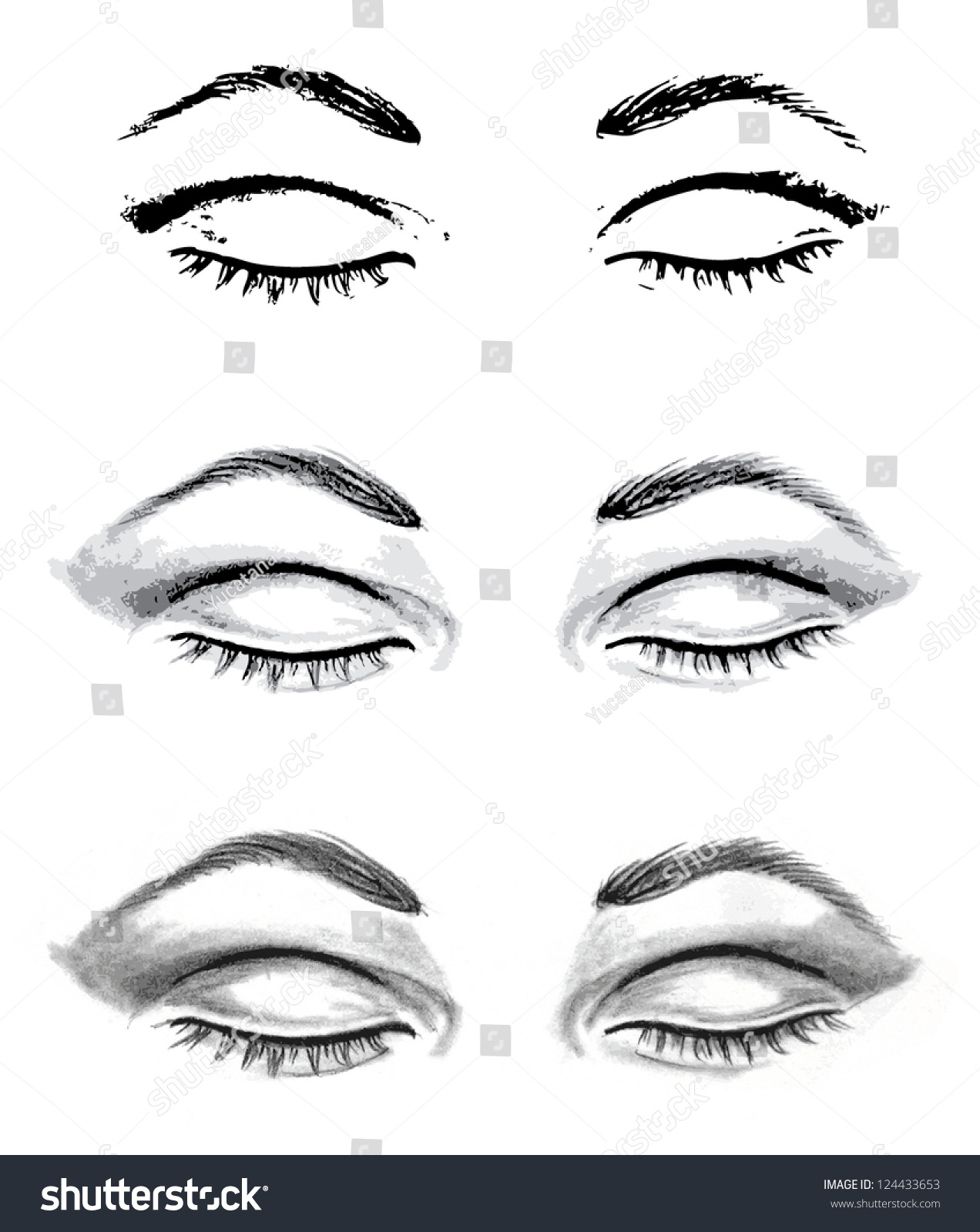 Royalty-free Pencil drawing closed eyes and auto ...