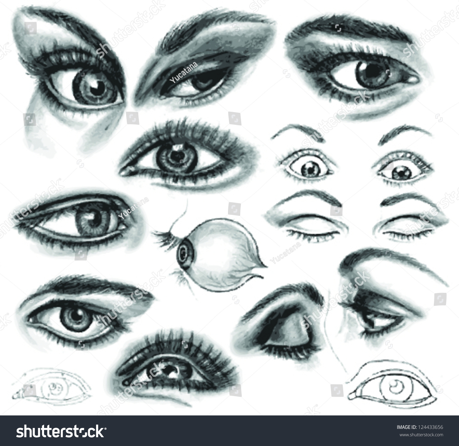 Set pencil drawing eyes and auto traced realistic sketch