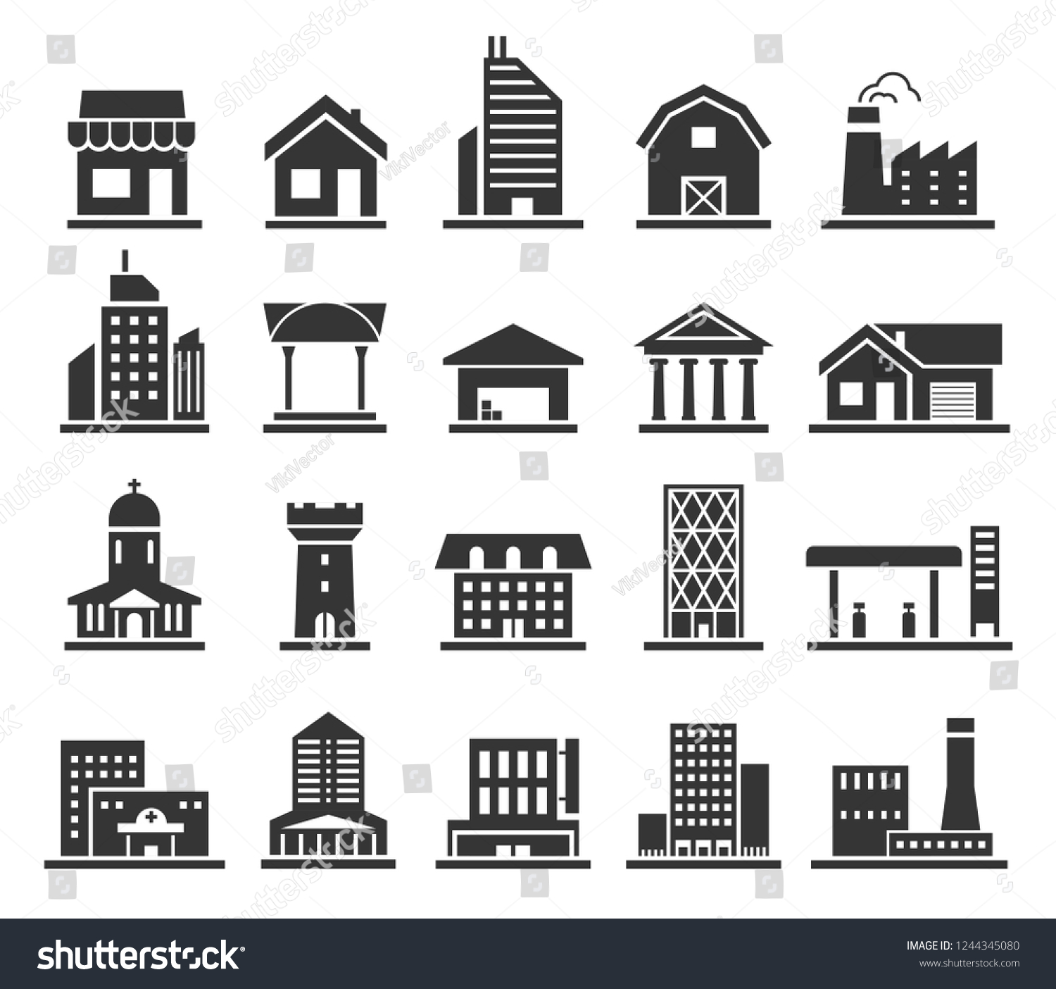 Building Facade Construction Town Home Icon Stock Vector Royalty Free 1244345080
