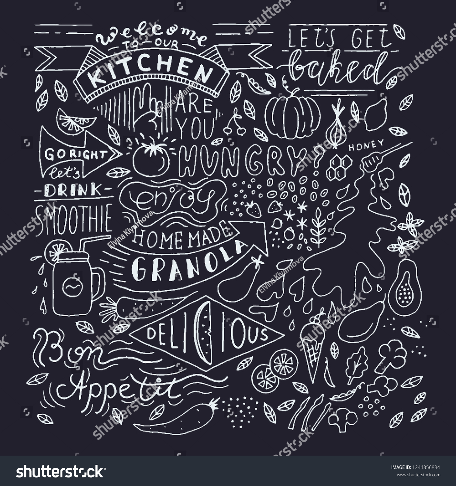 chalkboard kitchen art blackboard lettering wall stock vector