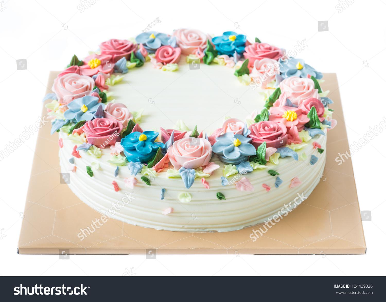 Birthday Cake Flowers On White Stock Photo 124439026