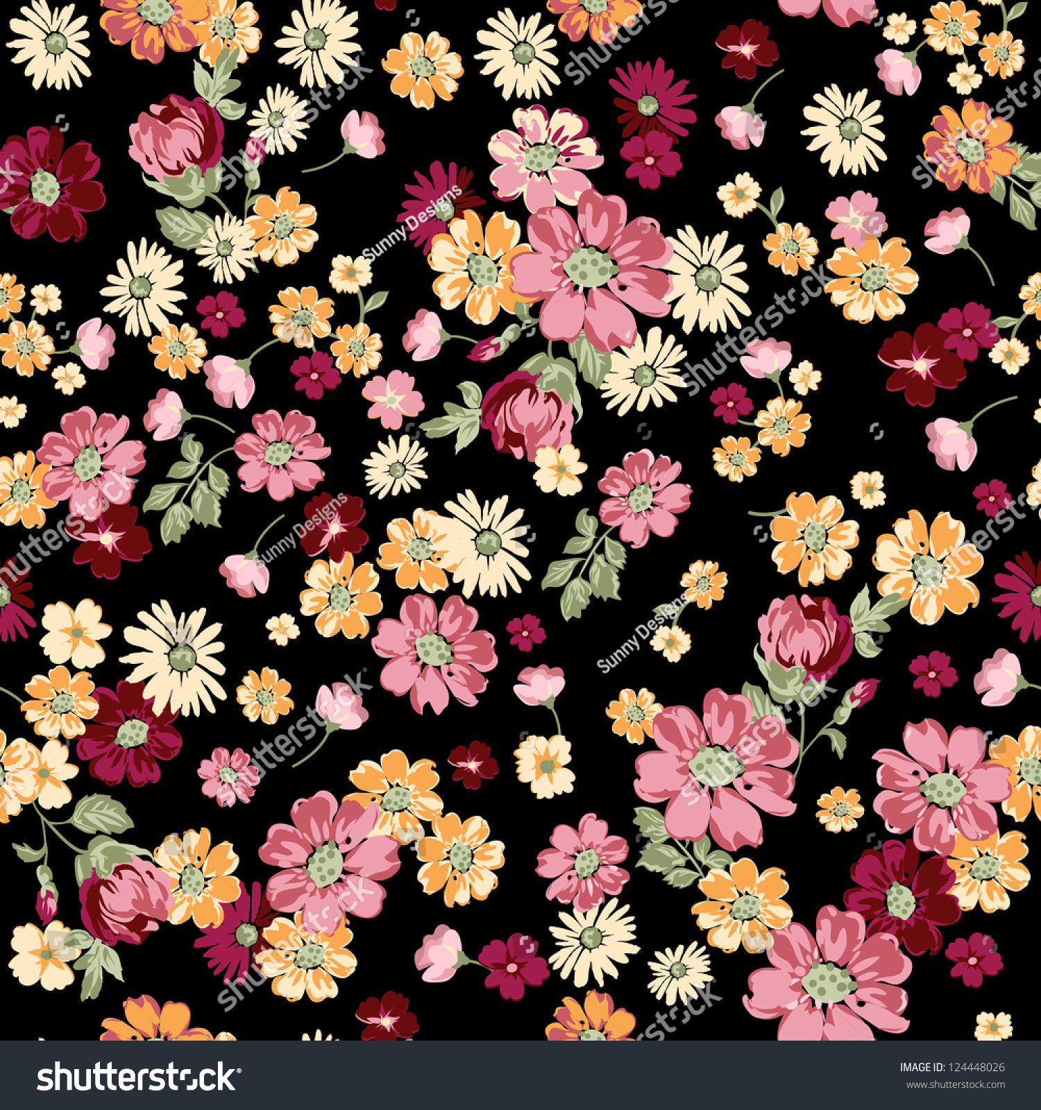 2015 Ditsy Floral Design: Classical Ditsy Floral Seamless Background Stock Vector