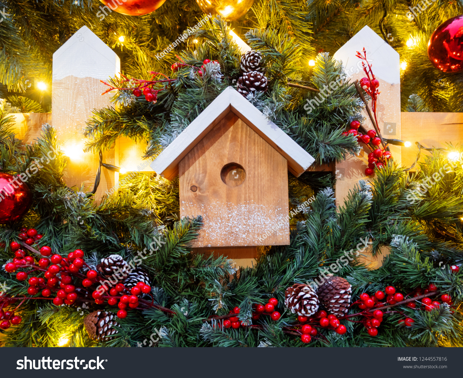 Christmas New Year Outdoor Decorations Bird Stock Photo Edit Now