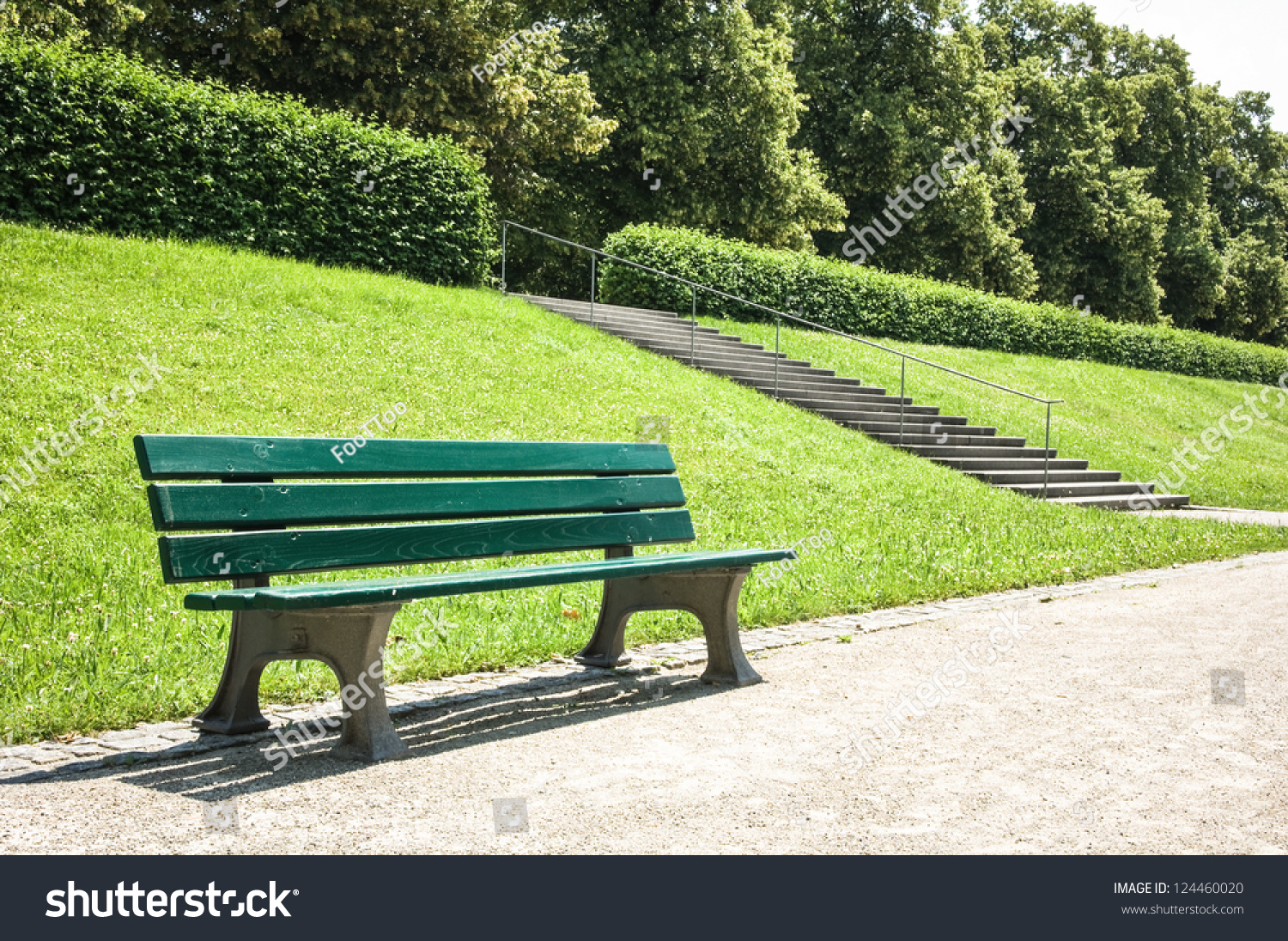 Wooden Park Bench At A Park Stock Photo 124460020 : Shutterstock
