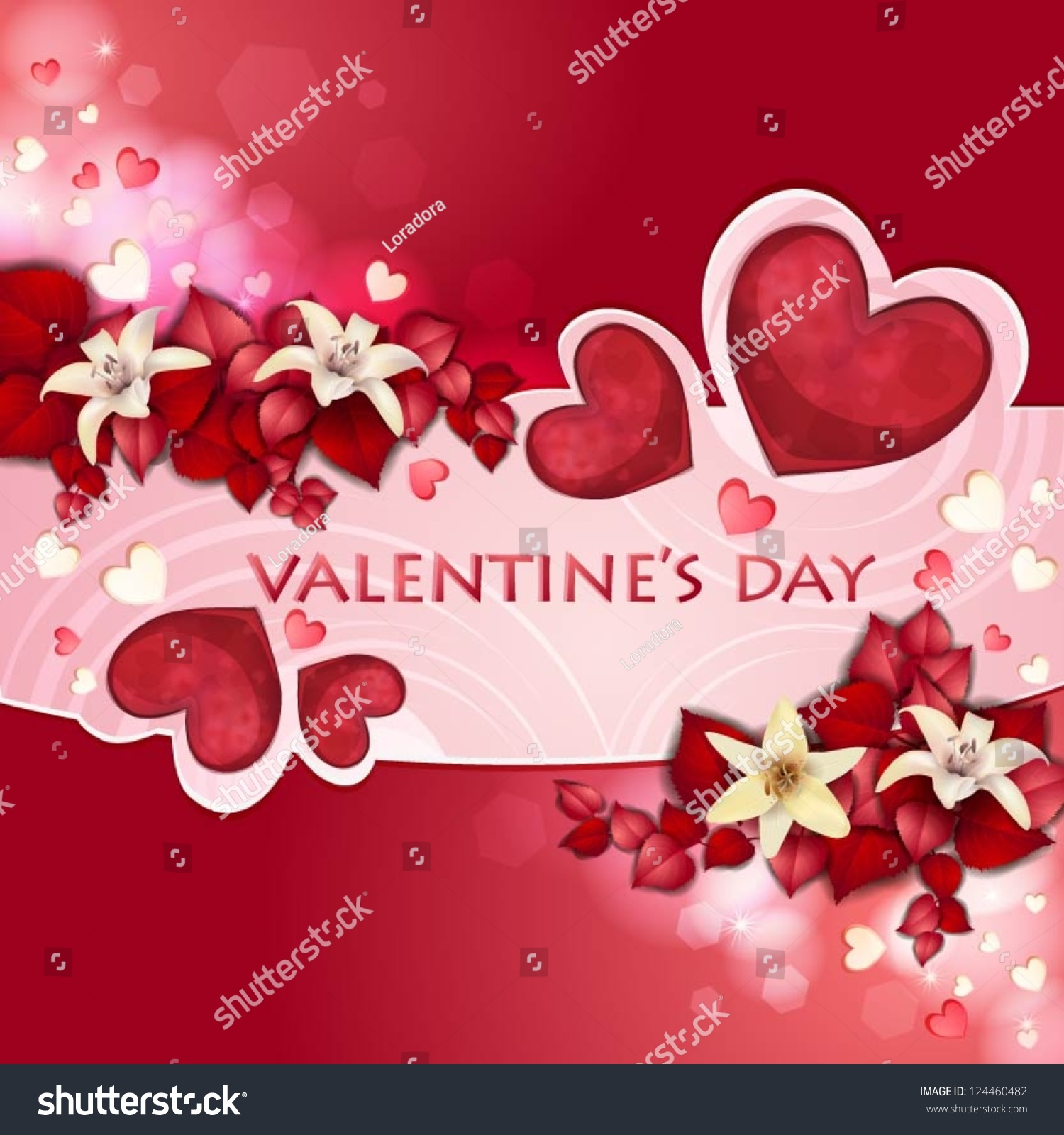 Valentines Day Card Beautiful Flowers Vector 124460482 – Valentines Card Photo