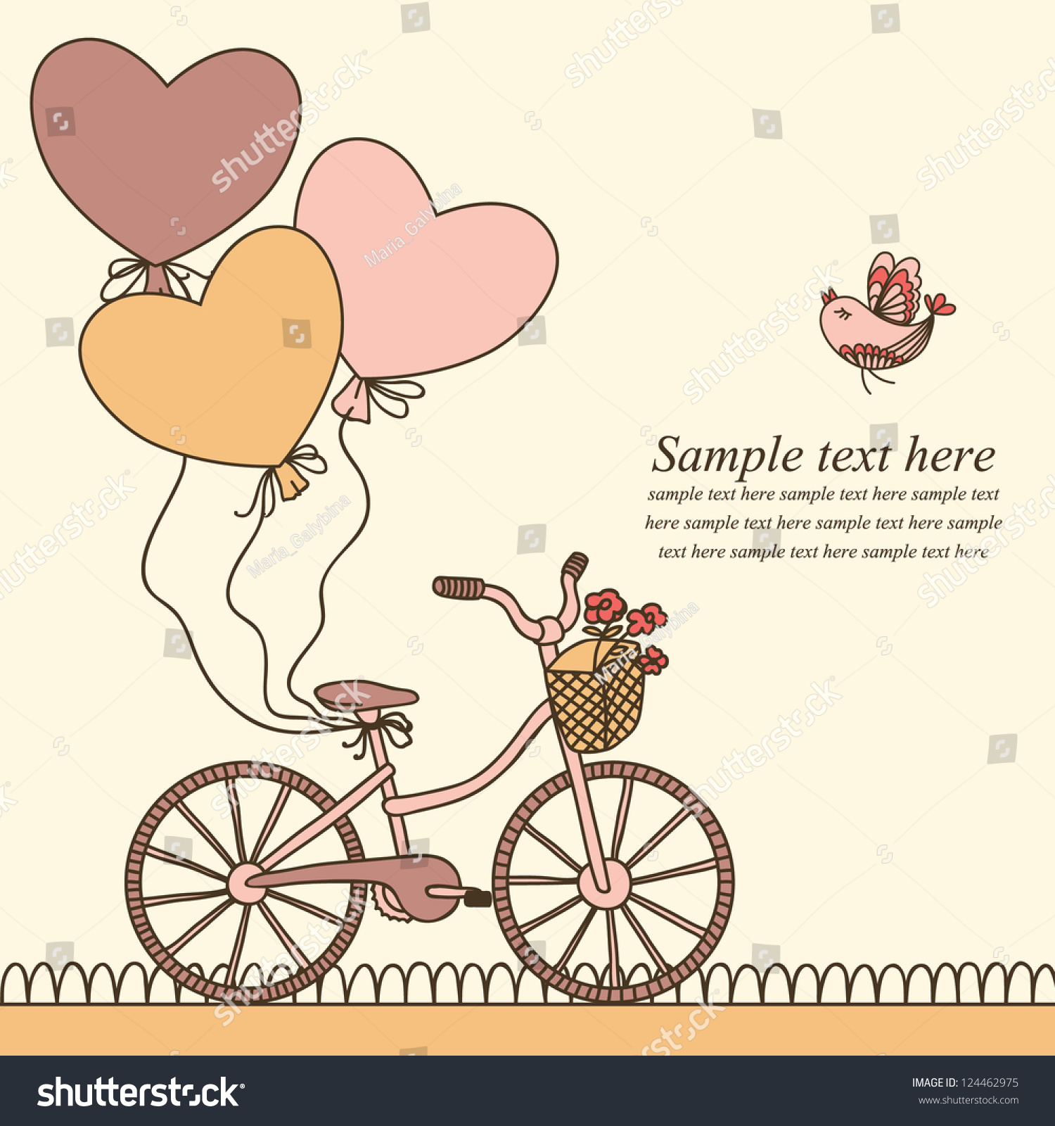 Vector Illustration Bicycle Balloons Place Your Stock Vector ...
