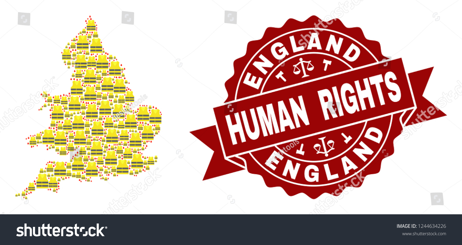 Map Of England Template.Human Rights Collage Yellow Vest Map Stock Vector Royalty Free