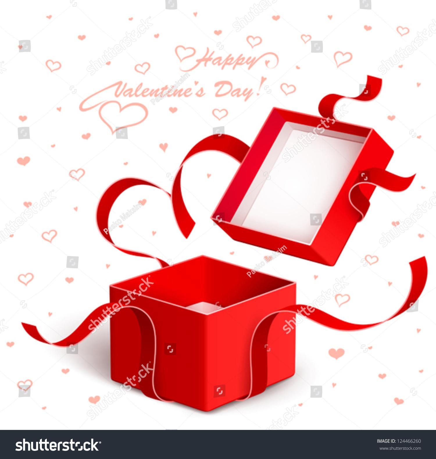 open gift box red ribbon stock vector 124466260 shutterstock. Black Bedroom Furniture Sets. Home Design Ideas