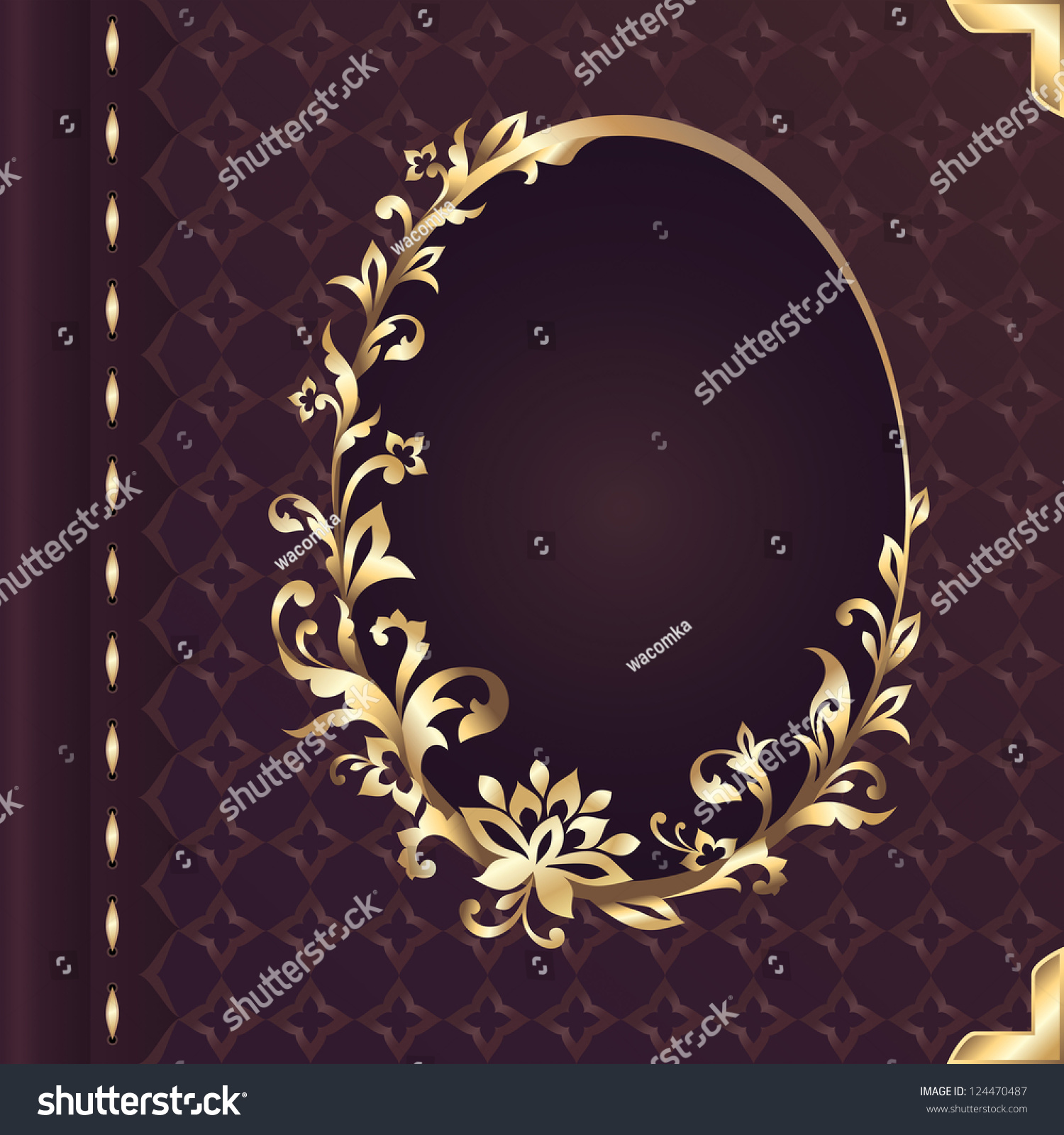 Book Cover Design With Flowers ~ Book cover design decorative golden floral stock vector