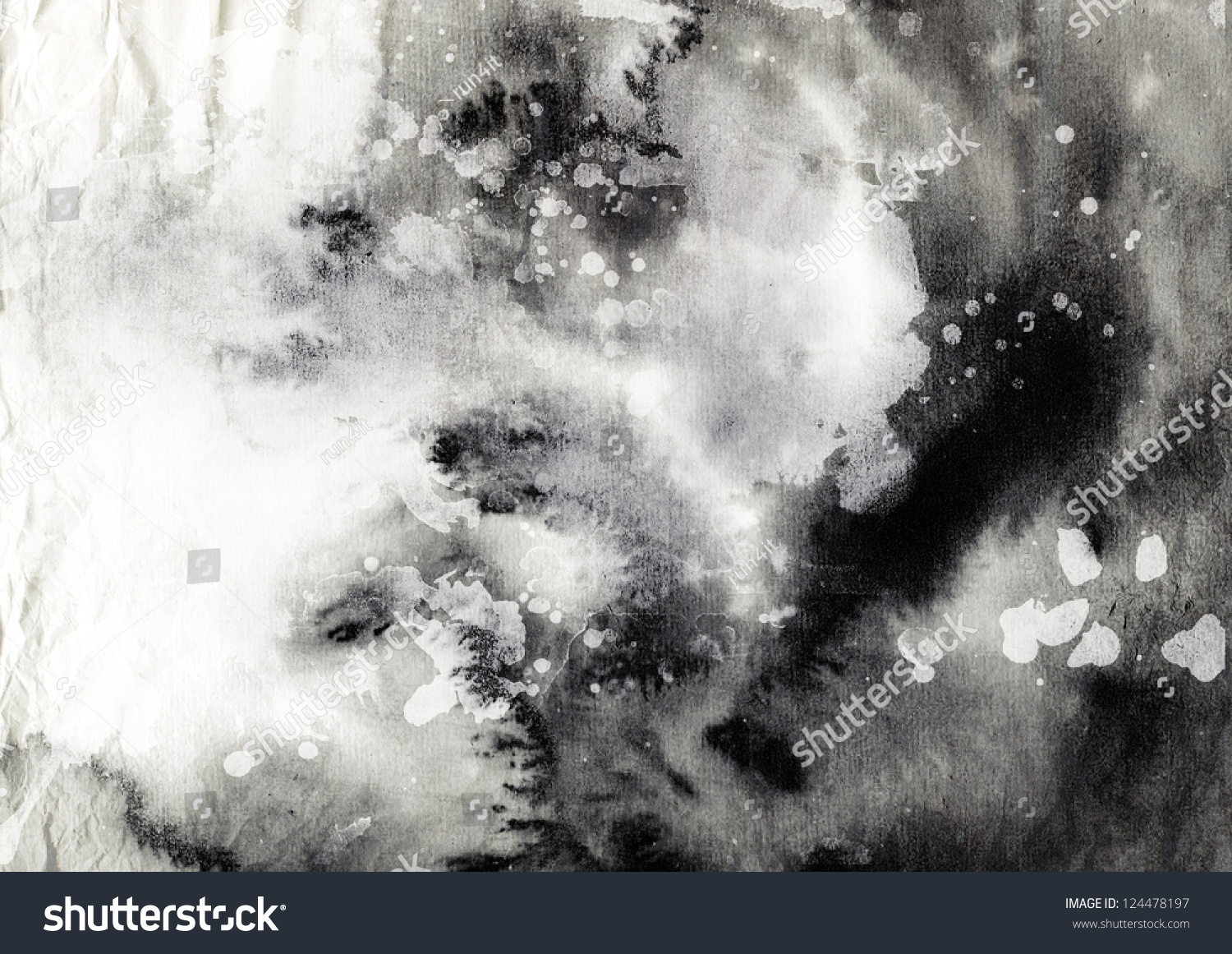 Stock Photo Abstract Black And White Ink Painting On Grunge Paper Texture Artistic Stylish Background