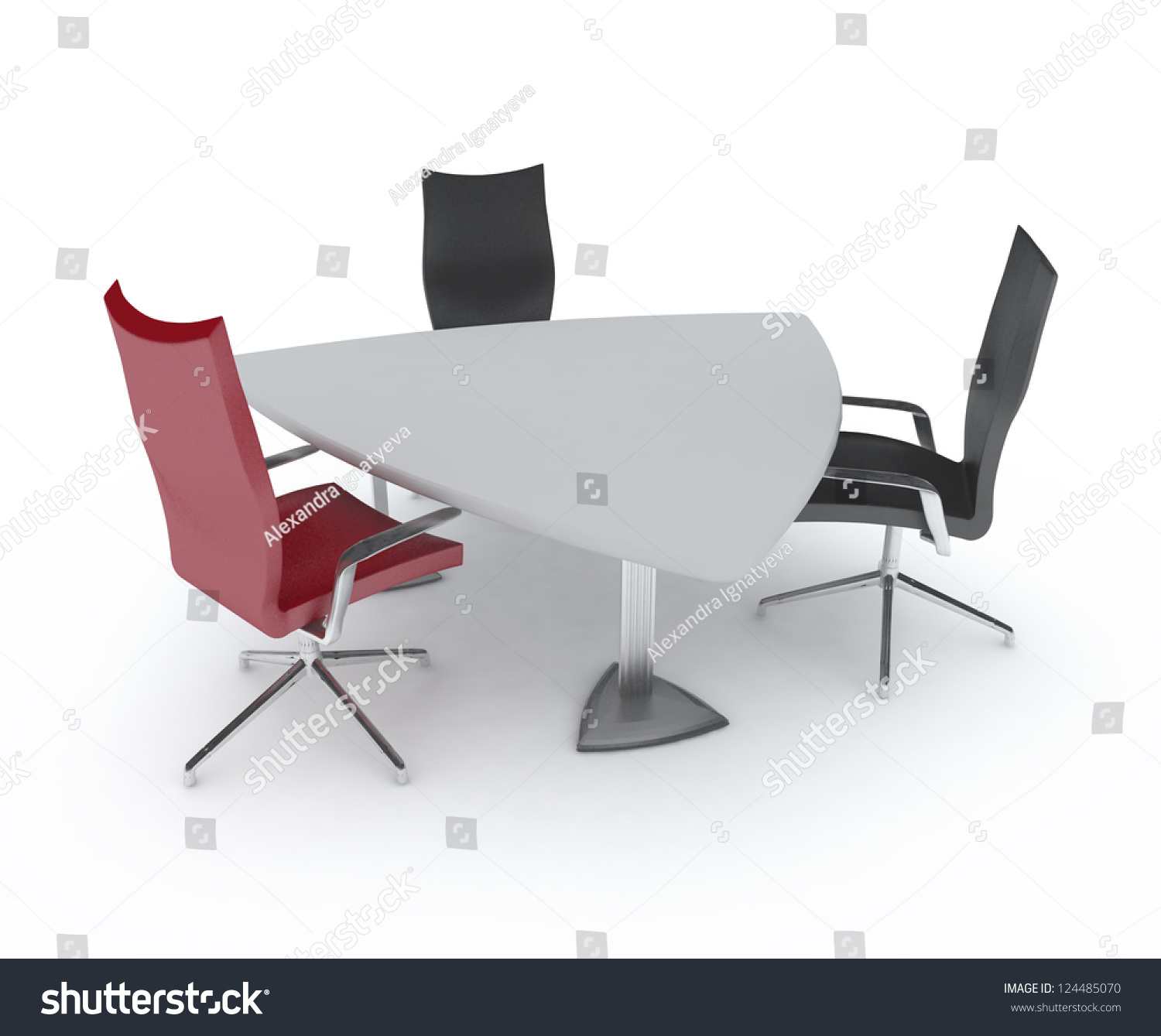 Triangular Table Chairs Empty Meeting Room Stock Illustration