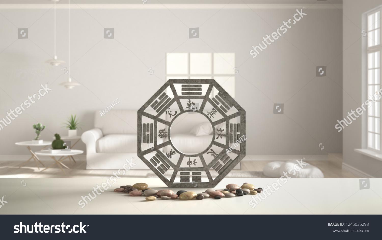 White Table Shelf Bagua Pebble Stone Stock Illustration
