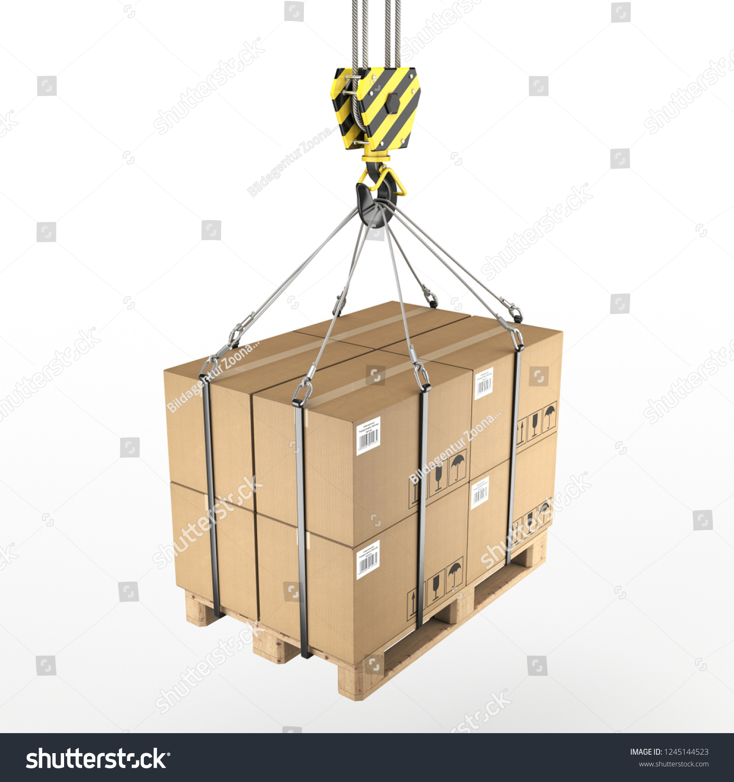 stock photo d rendering of a crane hook with a load on a pallet d illustration 1245144523 3 d rendering crane hook load on stock illustration 1245144523