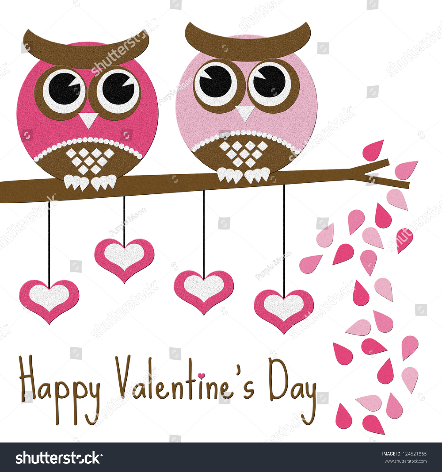 Fat Owl Happy Valentines Day Tree Branch Hearts Ez Canvas