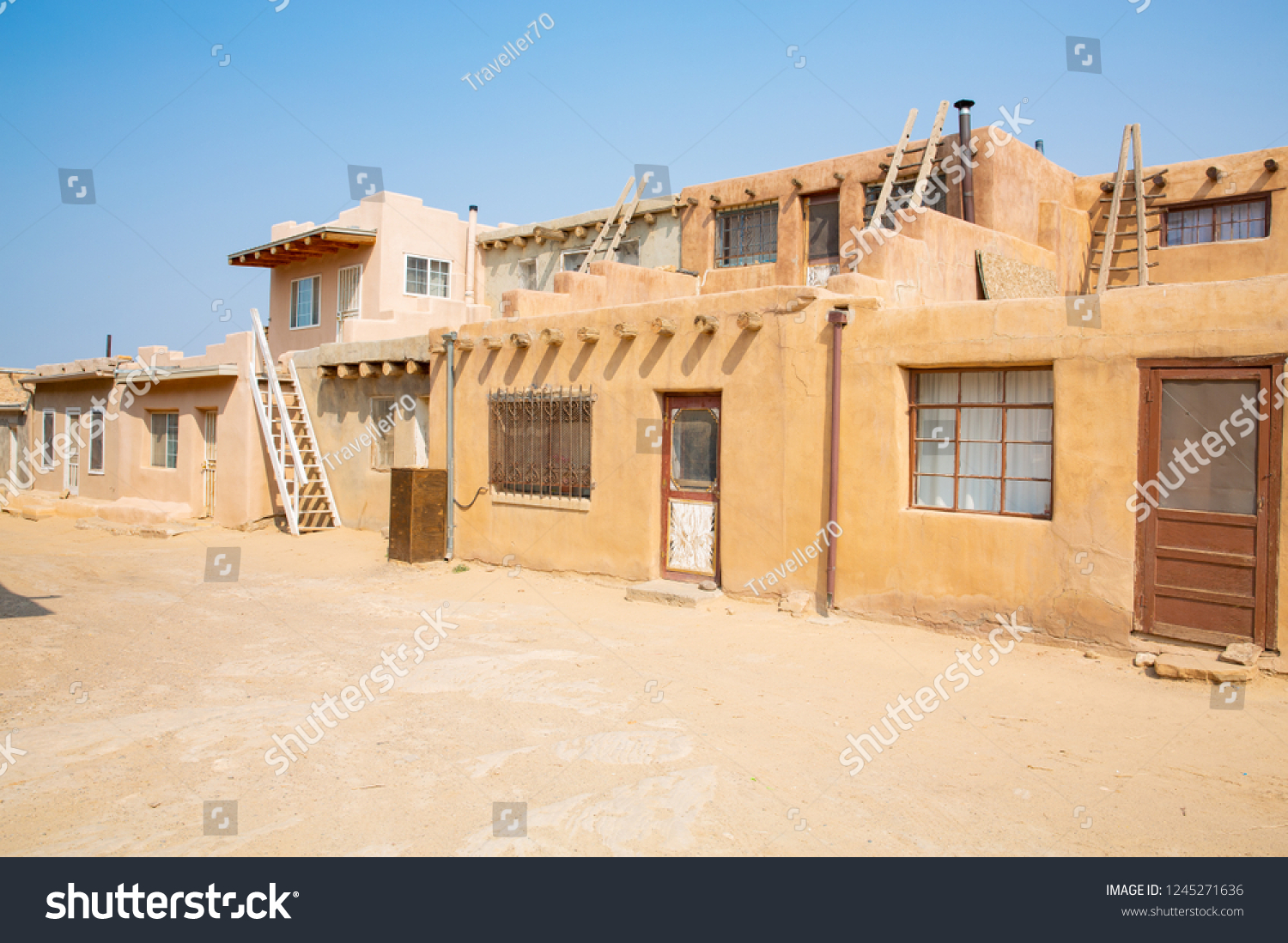Historic Acoma Pueblo Indian Village New Stockfoto Jetzt Bearbeiten