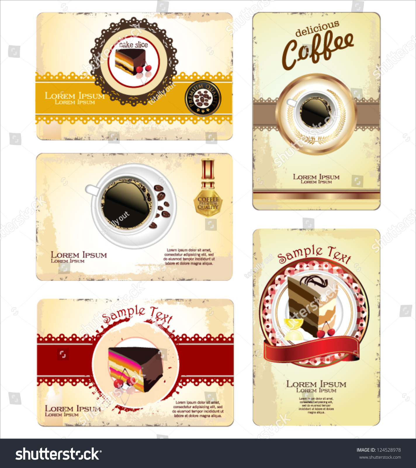 Coffeetea Cakes Menu Business Card Template Stock Vector