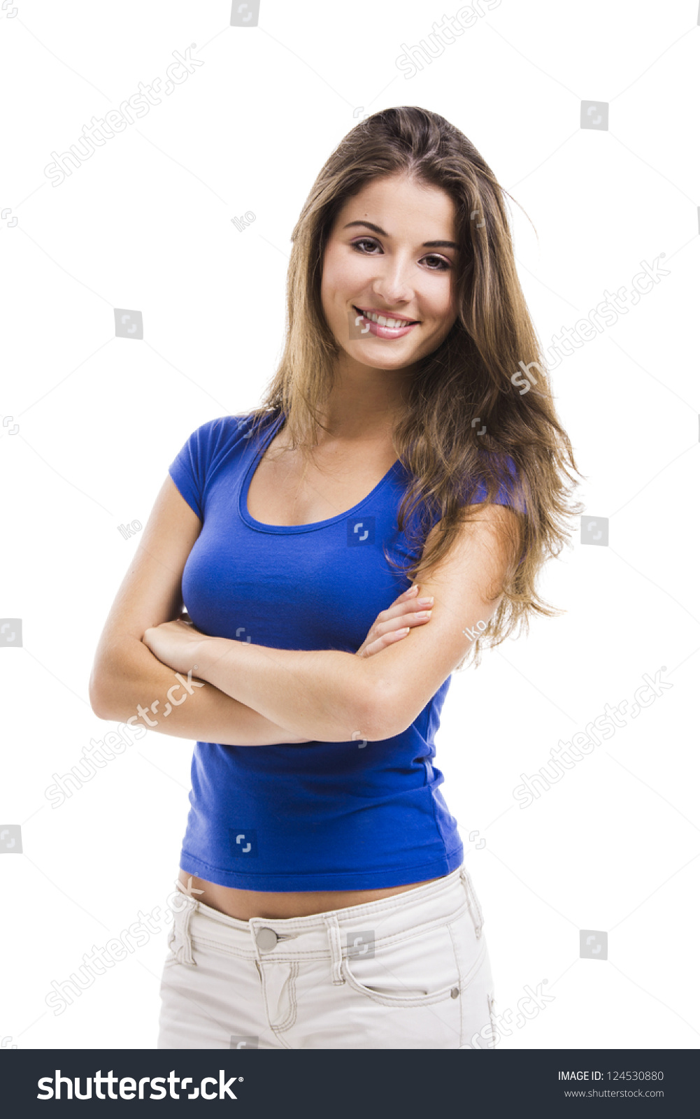 Stock Photo Aletia 164802918: Beautiful Young Woman Standing Arms Crossed Stock Photo