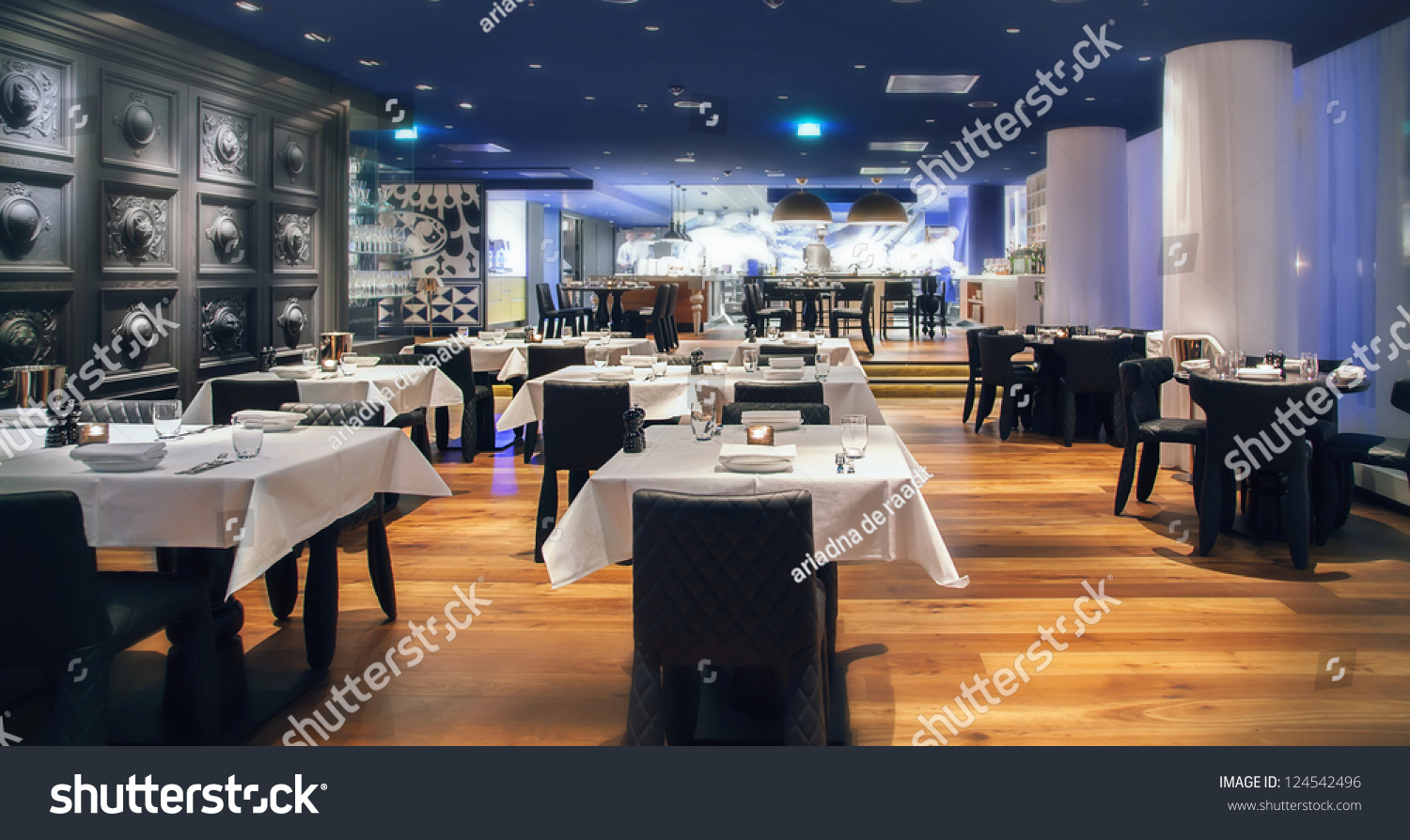 Modern Amsterdams Restaurant Open Kitchen Stock Photo 124542496