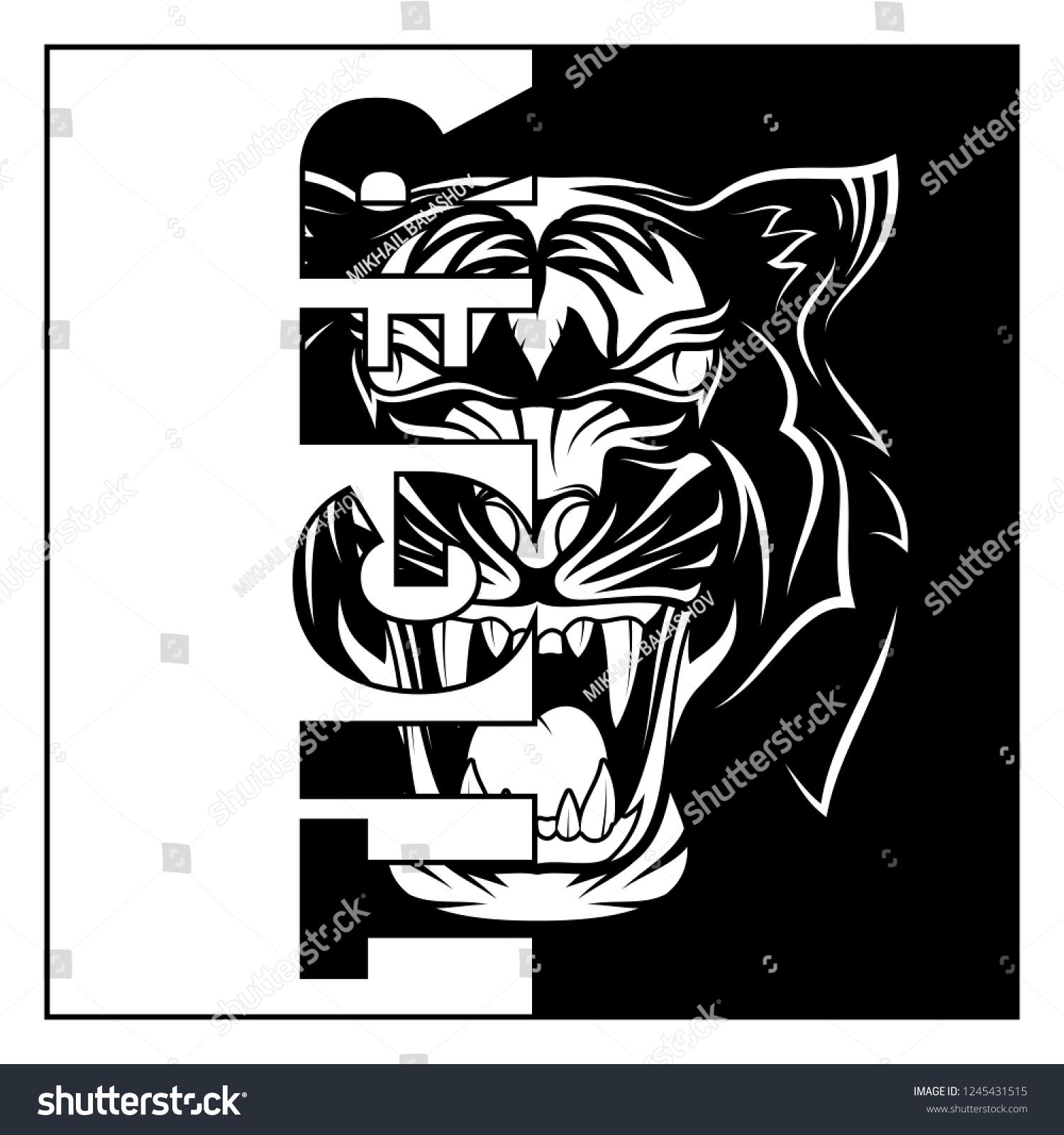 Vector Image Head Tiger Striped Predator เวกเตอร์สต็อก (ปลอด