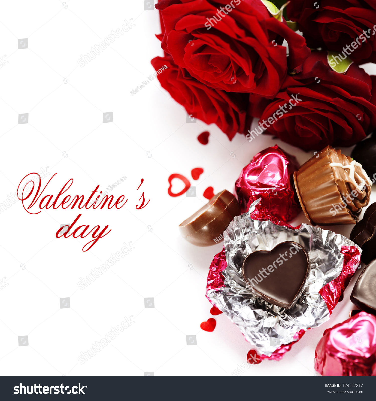 Red Roses Chocolate Hearts Valentines Day Stock Photo Edit Now