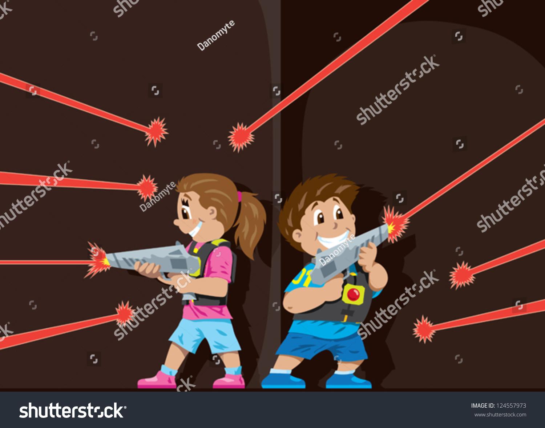 laser tag kids stock vector illustration 124557973