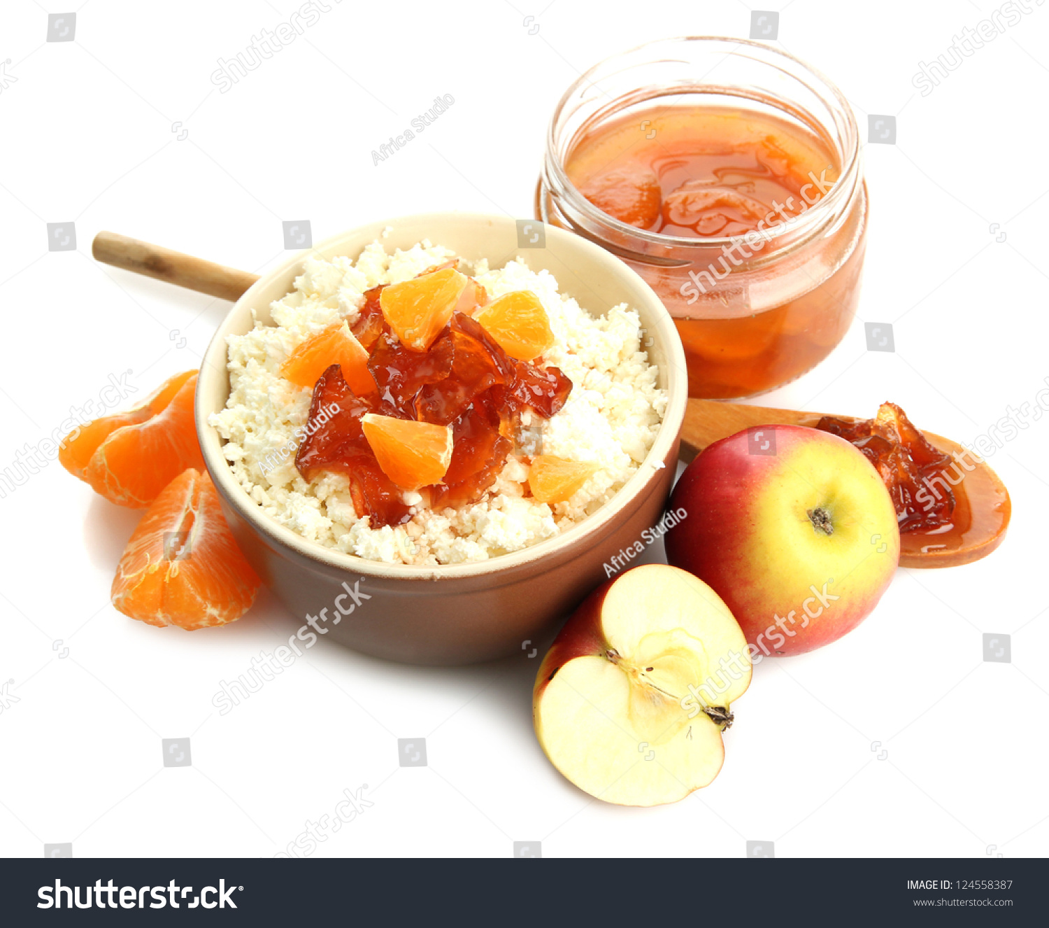 Cottage Cheese With Jam: Cottage Cheese In Bowl With Homemade Fruit Jam, Isolated