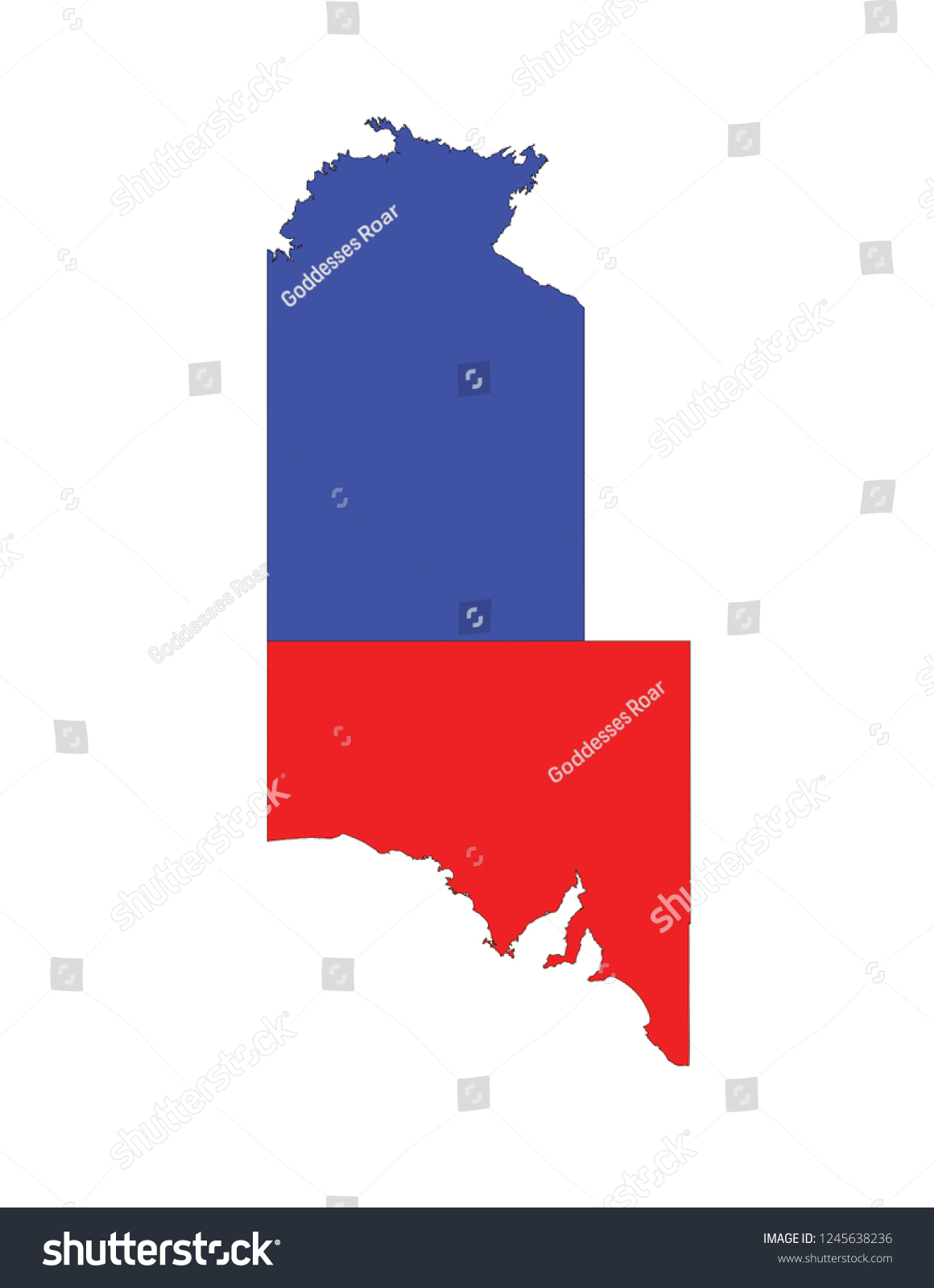 Map Of South Australia And Northern Territory.Central Australia Northern Territory South Australia Stock Vector