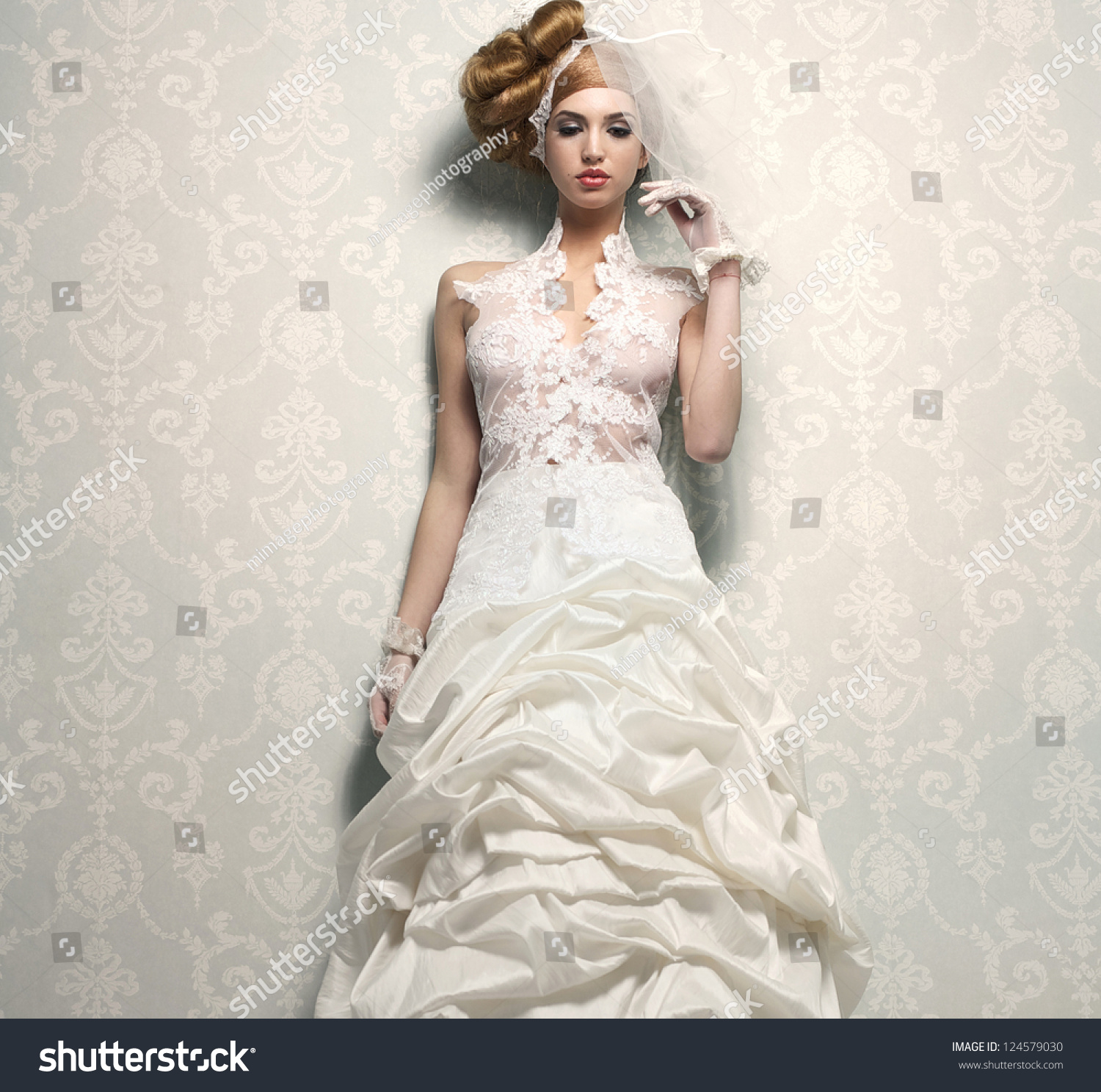 Classy And Glamorous Photo: Beautiful Bride In Elegant White Wedding Dress With Hand
