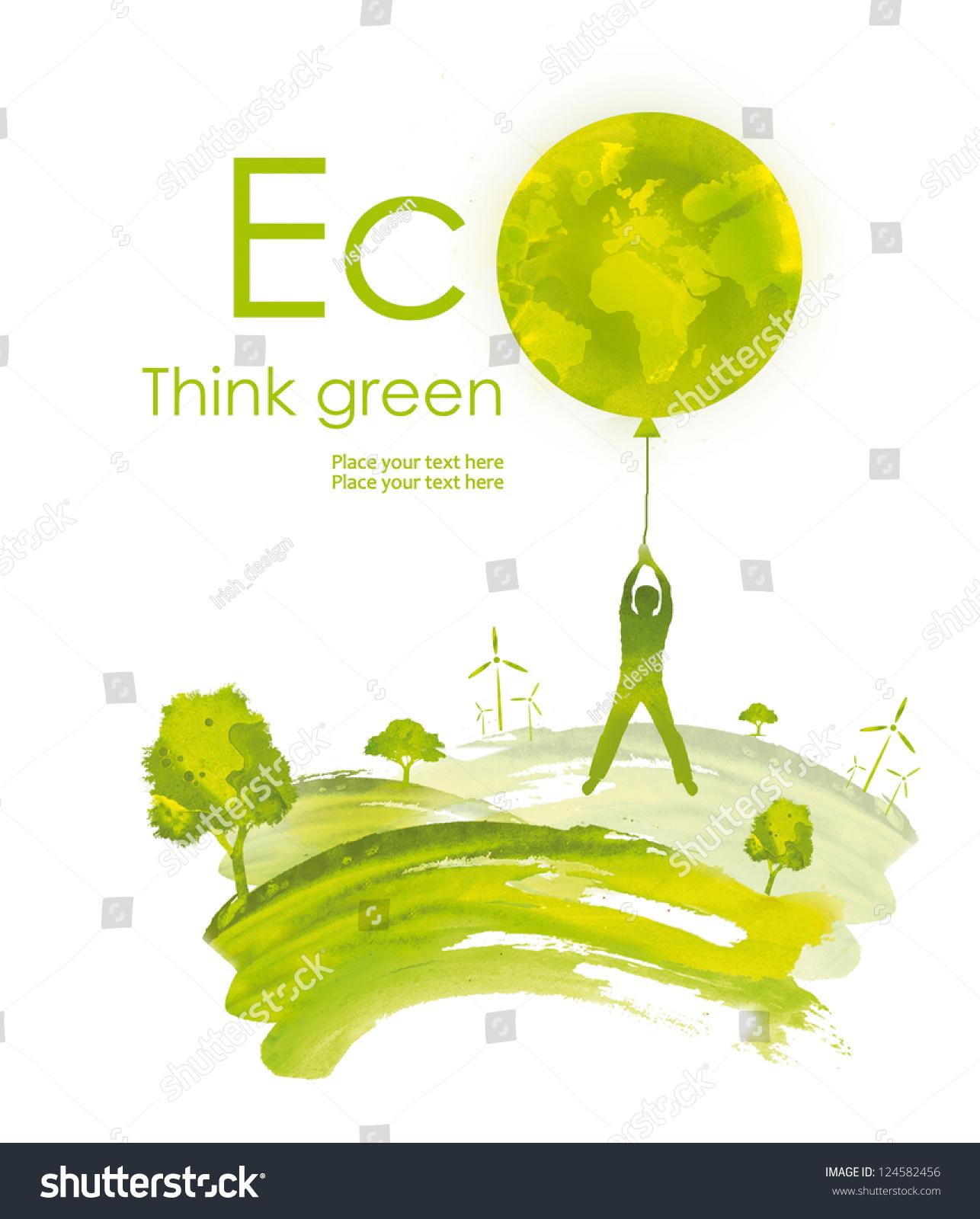 Environmental Concept Earthfriendly Landscapes: Illustration Environmentally Friendly Planet.Green